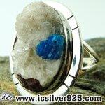 ▽แคแวนไซต์ Cavansite-แหวนเงินแท้ 925 (แหวนเบอร์ : 55) 6.6g