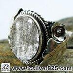 ▽หินดาวตกกีเบียน GIBEON METEORITE-แหวนเงินแท้ 925 (แหวนเบอร์ : 57, 5.2g)