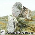 ▽หินดาวตกกีเบียน GIBEON METEORITE-แหวนเงินแท้ 925 (แหวนเบอร์ : 58, 6.2g)