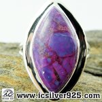 ▽เทอร์ควอยซ์ทองแดง - Copper Purple Turquoise - จี้เงินแท้ 925 -(แหวนเบอร์ : 53 ,5.2g)