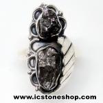 Campo Del Cielo Meteorite แหวนเงินแท้ 925 (แหวนเบอร์ : 57 ,7.1g)