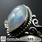 ▽มูนสโตน์สีรุ้ง (Rainbow moonstone) แหวนเงินแท้ 925 (แหวนเบอร์ : 49)