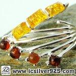 ▽อำพัน Amber - แหวนเงินแท้ 925 (ขนาดแหวนเบอร์ : 59 , 3.6g)