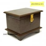 กล่องใส่พระไม้สักทองทรงโบราณ สีโอ๊ค
