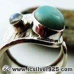▽ลาริมาร์-มูนสโตน์สีรุ้ง (Larimar-Rainbow moonstone) แหวนเงินแท้ 925 (แหวนเบอร์ : 57)