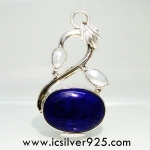 ▽ลาพิส ลาซูลี่ (Lapis Lazuli) และไข่มุก จี้เงินแท้ 925 (6.4g)