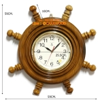 นาฬิกาพวงมาลัยเรือไม้สักทอง 16 นิ้ว
