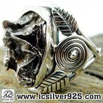 ▽Campo Del Cielo Meteorite แหวนเงินแท้ 925 (แหวนเบอร์ : 59 ,8.7g)