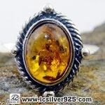 ▽อำพัน Amber - แหวนหูเงินแท้ 925 (ขนาดแหวนเบอร์ : 52 ,2.1g)