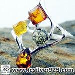 ▽อำพัน Amber - แหวนเงินแท้ 925 (ขนาดแหวนเบอร์ : 59 , 2.4g)
