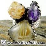 ▽ไหมทอง Golden Rutile,ซิทริน,อเมทิสต์ แหวนเงินแท้ 925 (แหวนเบอร์ 58, 11g)