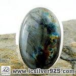 ▽ลาบราโดไรต์ Labradorite แหวนเงินแท้ 925 (แหวนเบอร์ : 59 ,10.1g)