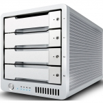 CalDigit T4 RAID Max Capacity: 20TB | Max Speed: 1375MB/s | Drive Module: SSD or HDD Interface: Dual Thunderbolt™ 2 Ports