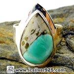 ▽วาริสไซต์ Variscite แหวนเงินแท้ 925 (แหวนเบอร์ : 59 , 5.9g)