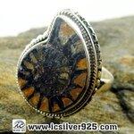 ▽แอมโมไนต์ Moroccan Ammonite แหวนเงินแท้ 925 (แหวนเบอร์ : 52, 6.2g)