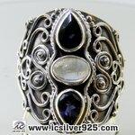 ▽มูนสโตน์สีรุ้ง&ไอโอไลท์ (Rainbow Moonstone & Iolite) แหวนเงินแท้ 925 (แหวนเบอร์ : 58)