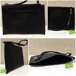 ILLAMASQUA Beauty Bag กระเป๋าหนังสีดำ เรียบ เก๋ มีสายคล้องข้อมือ ถือง่าย ใส่เครื่องสำอาง โทรศัพท์ เงิน ได้หลากหลายประโยชน์