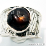 อาเกตเพลิง Mexican Fire Agate - แหวนเงินแท้ 925 (แหวนเบอร์ : 61 , 4.6g)