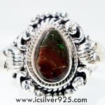 แอมโมไลต์จากแคนาดา Canadian Ammolite แหวนเงินแท้ 925 (แหวนเบอร์ : 57)