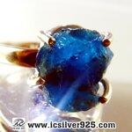 ▽อะพาไทต์ (Blue Apatite) แหวนเงินแท้ 925 (แหวนเบอร์ : 55)