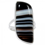บอสวาน่า อาเกต (Black Botswana Agate)แหวนเงินแท้ 925(แหวนเบอร์ : 55) 6.6g