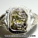 สะเก็ดดาวโมดาไวท์ MOLDAVITE -แหวนเงินแท้ 925 (ขนาดแหวนเบอร์ : 59,2.8g)