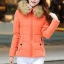 เสื้อกันหนาวผู้หญิงแฟชั่นเกาหลี สีส้ม แจ็คเก็ตมีเฟอร์ขนสัตว์ รอบฮู้ด แบบถอดได้