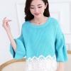เสื้อแขนยาวแฟชั่นเกาหลี สีฟ้า ผ้าไหมพรม แขนพองๆ ปลายเสื้อแต่งระบายลูกไม้ คอกลม