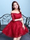 ชุดเดรสออกงานสีแดง ผ้าลูกไม้เกรดพรีเมี่ยม เปิดไหล่ แขนสามส่วน เอวแต่งดอกไม้ ลุคสวยหวานสไตล์เกาหลี ใส่เป็นชุดออกงาน ชุดไปงานแต่งงาน