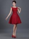 ชุดไปงานแต่งงาน ชุดออกงานสวยหรูสีแดงระกำ ผ้าลูกไม้+ผ้าไหมอิตาลี แขนกุด ทรงสวย