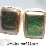 แอมโมไลต์จากแคนาดา Canadian Ammolite ต่างหูเงินแท้ 925 (1.3g)