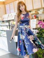 ชุดเดรสสั้นสีน้ำเงินพิมพ์ลายดอกไม้ สวยหวาน น่ารัก สดใส แฟชั่นสไตล์เกาหลี