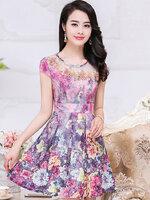 ชุดเดรสทำงานสีม่วงลายดอกไม้ แขนสั้น ช่วงอกปักดอกไม้สวยหรู แฟชั่นชุดทำงานออฟฟิศสวยหรู ดูดี