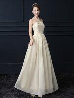 ชุดราตรียาวสีครีม ผูกคอ ลุคสวยสง่า ดูดี เหมาะสำหรับชุดใส่ออกงาน ไปงานแต่งงานแต่งงาน ธีมงานสีครีมเบจ