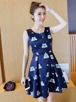 ชุดเดรสสั้นสีน้ำเงินลายแมวน่ารักๆ ลุคสวยหวาน น่ารักๆ สไตล์เกาหลี