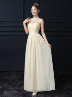 ชุดราตรียาวสีครีม คล้องคอ ลุคสวยสง่า ดูดี เป็นชุดออกงาน ไปงานแต่งงานแต่งงาน ธีมงานสีครีมเบจ