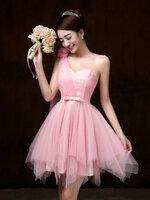 ชุดราตรีสั้น ชุดเพื่อนเจ้าสาว ชุดไปงานแต่งงาน สีชมพู ไหล่ฉียง สวยๆ แนวหวาน น่ารัก