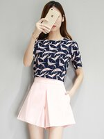 ชุดเซต 2 ชิ้น เสื้อชีฟองสีกรมลายนก + กางเกงกระโปรงขาสั้นสีชมพูโอรส