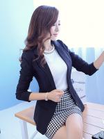 เสื้อสูททำงานผู้หญิงสีดำ คอปก แขนยาว ทรงสวย เข้ารูป