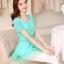 เสื้อแฟชั่นเกาหลี สีเขียวมิ้น ผ้าชีฟอง คอกลม แขนสั้น เอวสายรูด ปลายเสื้อเป็นผ้าแก้วเป็นระบายเก๋ๆ thumbnail 4