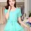 เสื้อแฟชั่นเกาหลี สีเขียวมิ้น ผ้าชีฟอง คอกลม แขนสั้น เอวสายรูด ปลายเสื้อเป็นผ้าแก้วเป็นระบายเก๋ๆ thumbnail 1