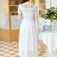 ชุดเดรสยาวสวยๆ สีขาว ผ้าชีฟอง คอกลม ช่วงไหล่แต่งด้วยผ้าซีทรูจับจีบระบาย แขนสั้น เอวคาดด้วยผ้า ซิปข้าง ซับในทั้งตัว ขนาดไซส์ S thumbnail 3