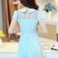 ชุดเดรสสั้นน่ารักๆสดใสสไตล์แฟชั่นเกาหลี สีฟ้า คอปกช่วงไหล่แต่งด้วยผ้าซีทรู แขนสั้น เอวเข้ารูป ผ้าคอตตอนเนื้อผ้ายืดได้ ซิปข้าง ไซส์ XL thumbnail 9
