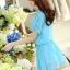 ชุดเดรสสั้นน่ารักๆ สีฟ้า ผ้าชีฟอง สกรีนตัวเลข คอกลม เอวยืด ซับใน ขนาดไซส์ M thumbnail 5