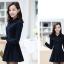 ชุดเดรสน่ารักแฟชั่นเกาหลี สีกรมท่า ผ้าคอลตอล คอปกเชิ้ต แขนยาว กระดุมผ่าหน้า thumbnail 6