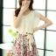 ชุดเดรสสั้นแฟชั่นเกาหลี สีเบจ กระโปรงลายดอกไม้สดใส เอวยืด มีสายผูกเอวน่ารักเก๋ๆ ผ้าชีฟอง ซับใน thumbnail 5