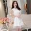 ชุดไปงานแต่งงานสวย น่ารัก สีขาว ผ้าซีทรูซับในด้วยผ้าไหมเกาหลี คอลูกไม้ แขนกุด ด้านหลังผูกโบว์สวยเก๋ๆ เอวเข้ารูป ซิปข้าง ขนาดไซส์ S thumbnail 9