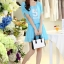 ชุดเดรสสั้นน่ารักๆ สีฟ้า ผ้าชีฟอง สกรีนตัวเลข คอกลม เอวยืด ซับใน ขนาดไซส์ M thumbnail 2
