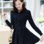 ชุดเดรสน่ารักแฟชั่นเกาหลี สีกรมท่า ผ้าคอลตอล คอปกเชิ้ต แขนยาว กระดุมผ่าหน้า thumbnail 5