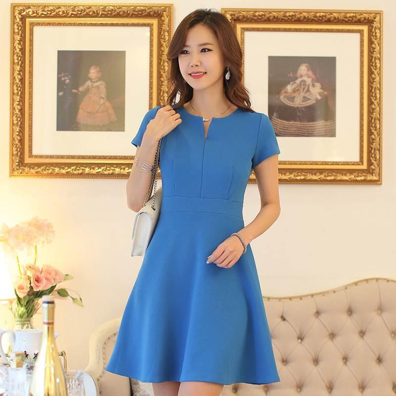 ชุดทำงานเกาหลี สีฟ้า